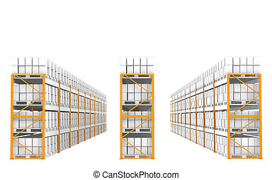 Rack x 30 - Shelves in a row. Part of Warehouse series.