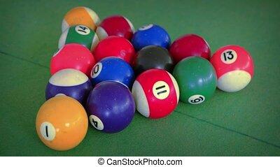 Racked Billiards Balls on a Felt Table. - Complete set of...