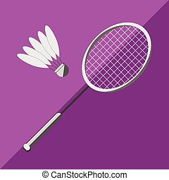 Racket and shuttlecock badminton on a bicolor background....