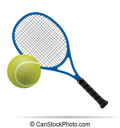 Racket and tennis ball - Illustration of the tennis racket...
