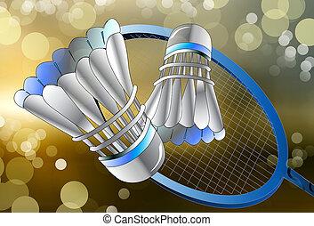 racket badminton sport action and light bokeh backgrounds