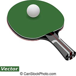 racket for table tennis photo-realistic isolated on white...