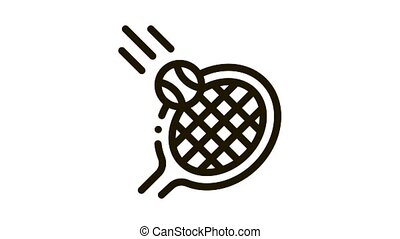 Racket Hits Ball Icon Animation. black Racket Hits Ball animated icon on white background