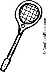 racket, tecknad film, squash