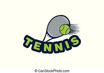 racket tennis and ball logo design