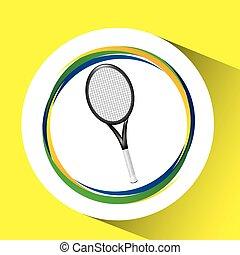 racket tennis olympic games brazilian flag colors