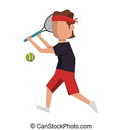 racket, tennis, plasyer, avatar, boll