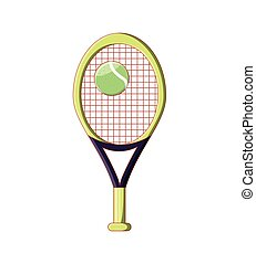 racket with ball of tennis isolated icon
