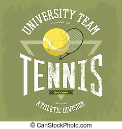 Racket with tennis ball for t-shirt logo
