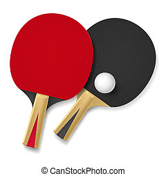 Rackets - Two rackets for playing table tennis. Illustration...