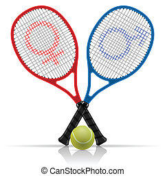 Rackets with tennis ball - Illustration rackets with tennis...