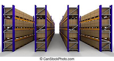 3D render of racking full of boxes