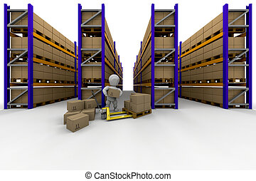 Racking - Person stacking boxes in warehouse full of racking