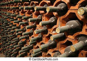 Racks with bottles