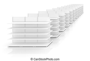 Racks with shelves isolated on white background