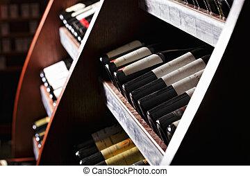 Racks with wine