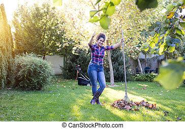 racler part, femme, jardin
