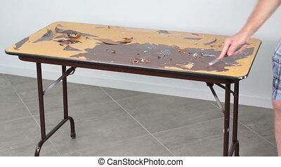 racler, sommet, personne, grain bois, table, autocollant