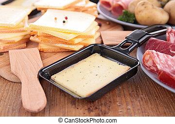 raclette, 乳酪, 以及, 成分
