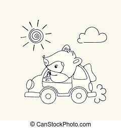 racoon, car, alegre, ilustração