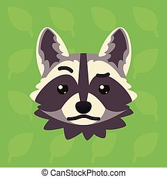 Racoon emotional head. Vector illustration of cute coon shows distrust emotion. Doubt emoji. Smiley icon. Print, chat, communication. Grey raccoon in flat cartoon style on green background. Skeptical