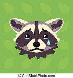Racoon emotional head. Vector illustration of cute coon...