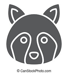 Racoon glyph icon, animal and, coon sign vector graphics, a...