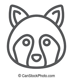Racoon line icon, animal and, coon sign vector graphics, a...