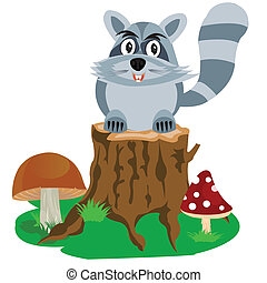 Racoon on hemp tree - Illustration of the racoon sitting...