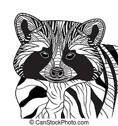 Racoon or coon head vector animal illustration
