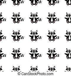 racoon, padrão, seamless