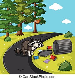 Racoon searching trash in park illustration