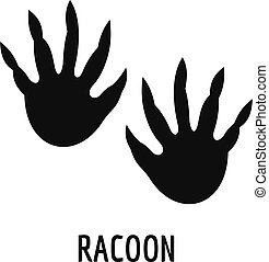 Racoon step icon, simple style. - Racoon step icon. Simple...