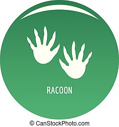 Racoon step icon vector green - Racoon step icon. Simple...