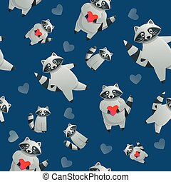 Racoon with red heart pattern, cartoon style