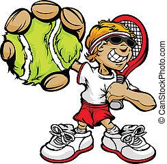 racquet, bola, jogador tênis, segurando, criança