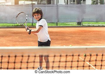 racquet, jongen, het glimlachen, hilarious, gebruik