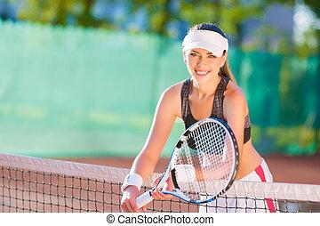 racquet, stehende , tennis, positiv, athlet, court., schauen...