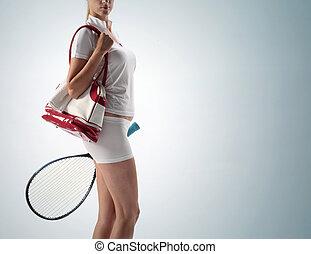 racquet, tênis, jovem, sacola atletismos, mulher