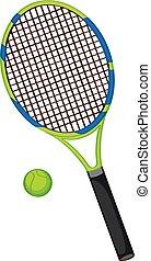 racquet, tennis, isolato, palla