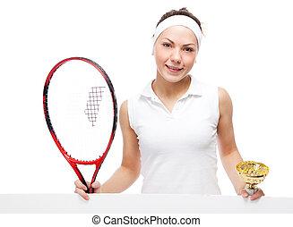 racquet, vrouw, tennis