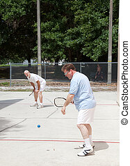 racquetball, familie, spiel
