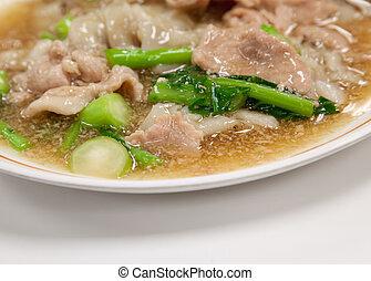 rad, alimento, sódio, guaitiao, molho, sauce), cremoso, estilo, (wide, tailandês, noodles