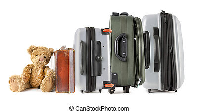 rad, av, suitcases, med, nallebjörn, sittande, hos, avsluta