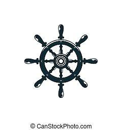 rad, lenkung, freigestellt, shipwheel, steuerung