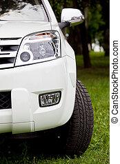 rad, licht, modern, detail, luxus, stoßstange, front, auto