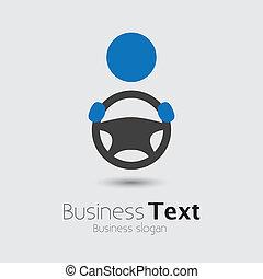 rad, oder, seine, cabbie, auto, geschaeftswelt, raum, text, graphic., fahrzeug, treiber, symbol-, hand, vektor, abbildung, besitz, auto, werbespruch, ikone, lenkung, shows