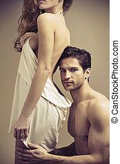 rad, przystojny, człowiek, dotykanie, jego, kobieta