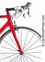 rad, radfahren, lenkstange, concept., gegen, fahrrad, hintergrund, front, professionell, weißes, sport, straße, closeup.