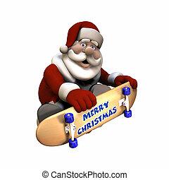 Rad Santa 1 - Santa Doing Tricks on a Skateboard